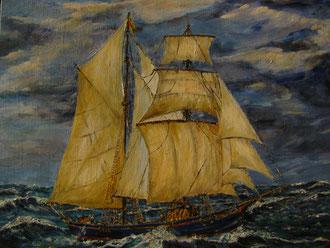 Spanish brig 1835/sunk of Hillsboro Beach, Fl/Framed