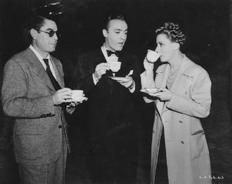"on the set of ""Love Affair"" with director Leo McCarey and Charles Boyer"