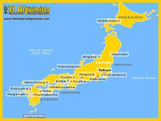 Mapa Japón - Herbolario el Alquimista Arrecife Lanzarote