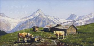 Bussalp mit Schreckhorn und Finsteraarhorn