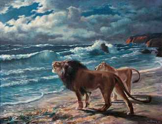 Löwen am Strand (Südwest Afrika)