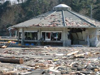 津波で破壊された処理場