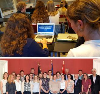 Die Schüler am Gefion Gymnasium arbeiten durchweg mit Laptops (Bild oben). Neben Hospitationen standen auch viele Informationsbesuche auf dem Programm, unter anderem in der Deutschen Botschaft (Foto unten). Bilder: Ulrichs