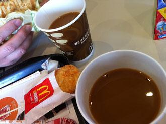 朝マックのプレミアムコーヒーとハッシュポテト