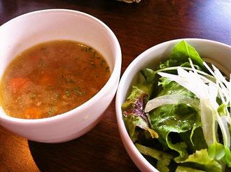 八女市もつ蔵ランチサラダとスープ