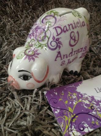 zur Hochzeit ein wunderschönes Keramiksparschwein, ein wirklich ausgefallenes, persönliches Geschenk!!