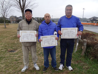 MA級入賞者左より 2位高橋明男 優勝松田栄嗣 3位秋沢俊二