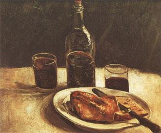 VAN GOGH - Natura morta con bottiglia, bicchieri, formaggio e pane