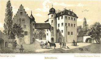 Das Schloss Schwebheim im Jahre 1870 - bitte vergrößern