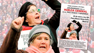 Solidaritetsdemo i Madrid med den baskiske generalstrejkes krav