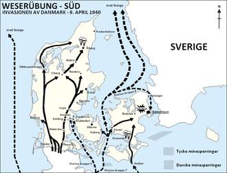 Überfall auf Dänemark, April 9, 1940, Roskilde ist eingezeichnet. Grafik: Realismadder, Lizenz: Creative Commons Attribution-Share Alike 3.0 Unported