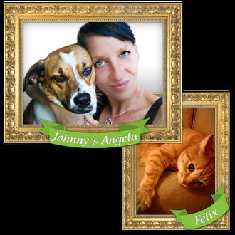 Das bin ich Angela Zilske und meine Babys Johnny, er ist ein spanischer Strassenhund und Felix