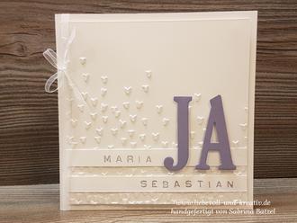 Stampin'Up! Karte Einladung zur Hochzeit JA, weiß und lila