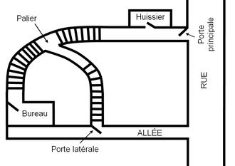 Le plan du bâtiment où le traité (qui se trouvait dans le bureau) a été volé.
