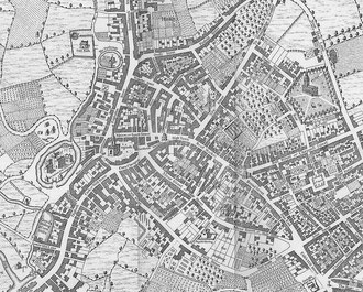 Westley's 1731 map of Birmingham - part. It is oriented with North to the left of the map.
