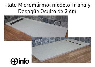 Platos de Micromármol modelo Triana y Desagüe Oculto 3 cm