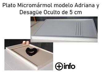 Platos de Micromármol modelo Adriana y Desagüe Oculto 5 cm