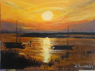 Sonnenuntergang am NeusiedlerSee Acryl auf Leinwand 30 cm x 40 cm Preis: € 80,--