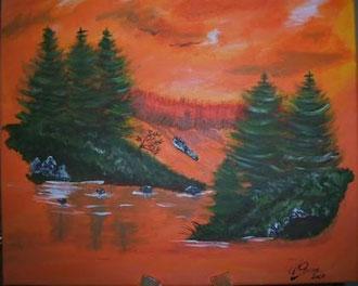 Landschaft in Orange 50cm x 50cm Acryl auf Leinwand Preis: € 140,--
