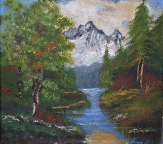 Landschaft mit Bach und Berg 40cm x 40cm Acryl auf Leinwand Preis: € 100,--