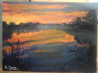 Sonnenuntergang am See 30 cm x 40 cm Acryl auf Leinwand Preis: € 75,--