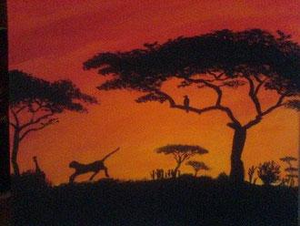 Kenia Sonnenuntergang 40 cm x 50 cm Acryl  VERKAUFT
