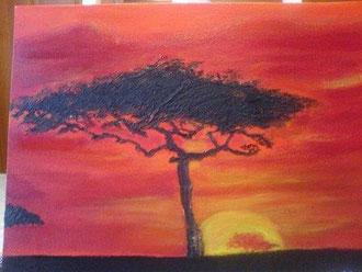 Sonnenuntergang in Kenia 30 cm x 40 cm Acryl auf Leinwand Preis: € 80,--