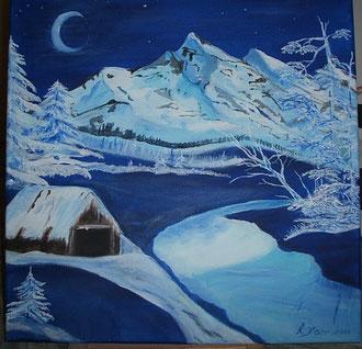 Winterlandschaft in Blau 50cm x 50cm Acryl auf Leinwand Preis:  € 120,--