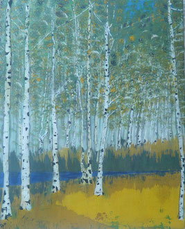 """Das Birkenwäldchen"" Referenzwerk, Acryl  auf LW in 80x100, 2012  /    ""Birch forest"" 31,5x39,4       >>> also available as Print in A4 and A3"