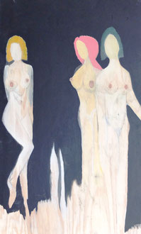 Die drei Grazien , Acryl und Holzlasur auf Holzpanele in 60x120