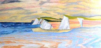 Kreidefelsen vor der Insel Rügen, Acryl auf Holzpanele in 120x60 (Übermalt)