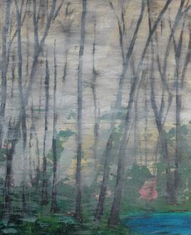 """""""Leipziger Auwald im Nebel"""",  Acryl auf LW in 80x100, 2016 (erstes Bild im neuen Atelier)"""