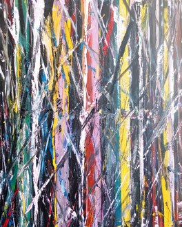 """""""Der Auwald abstrakt..."""" Acryl und Tusche auf LW in 80x100, 06-2018"""