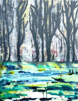 """""""Finsterwald"""" Acryl und Tusche auf LW in 60x80, 2013      >>>sold"""