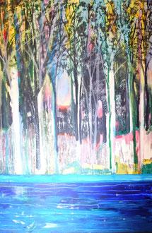 """""""Morgenröte"""" im Auwald... Acryl und Tusche auf LW in 100x150 06-2018   (verkauft)"""