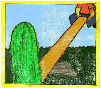 """""""Cucumbersome See Saw""""      acrylic paint & digital color"""