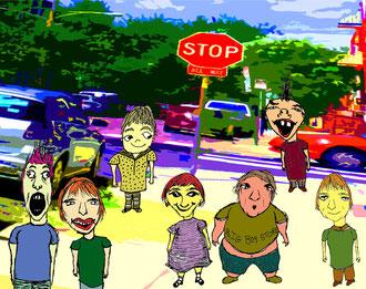 """""""Short Bus Stop""""      2008      pen & photo w/digital color"""