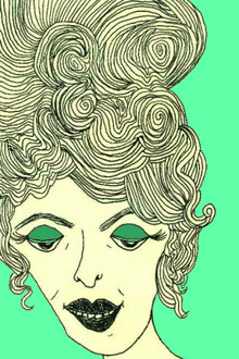 """Good Hair Day""      pen on paper w/digital color     2014"