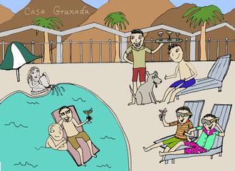 """Casa Granada"" -freelance project- pen & digital color."