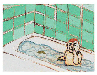 """Baby Poos in Tub""      2006      colored pencil & digital color"