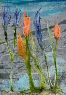 Blau-Orange Schwestern, Tusche und Acryl auf Papier, DIN A4,