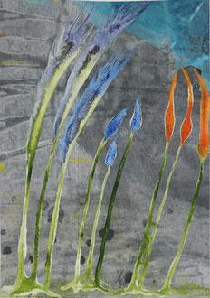 Blaue Maurizius, Tusche und Acryl auf Papier, DIN A4,