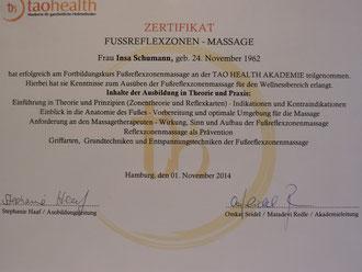 "Zertifikat ""Fußreflexzonenmassage"" Hamburg"