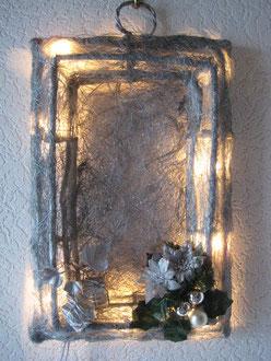Rebendeko silber mit Lichterkette und Deko