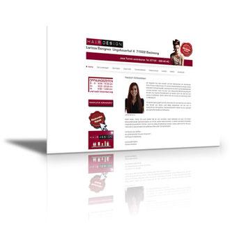 Auftraggeber: Friseur. Unsere Leistungen: Webdesign, Layout, Texte, Bilder, Rechtsprüfung, Webbetreuung