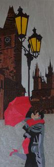 Les amoureux au parapluie  - marqueterie - Atelier Eclats de Bois - 38 isère