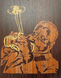 Jazz - Dizzy Gillespie - marqueterie - Atelier Eclats de Bois - 38 isère