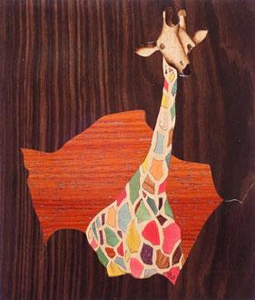 Girafe haute en couleurs - Atelier Eclats de Bois - 38 Isère