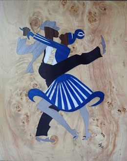 Danseurs de Lindy Hop - marqueterie - Atelier Eclats de Bois - 38 isère