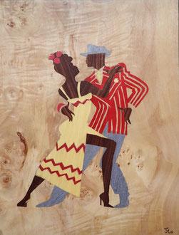 Danseurs de Rumba - marqueterie - Atelier Eclats de Bois - 38 isère